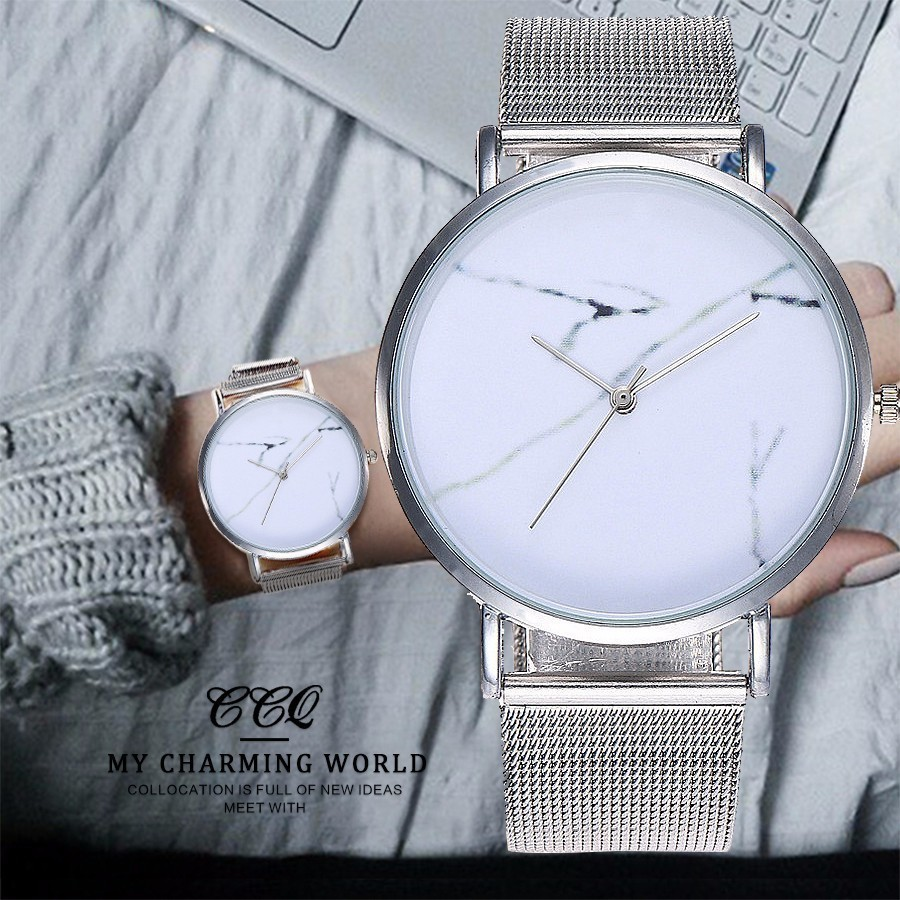 New CCQ Brand Popular Stainless Steel Mesh Band Creative Marble Dial Quartz Sport Watch Women Dress Simple Watch Drop Shipping bgg brand creative two turntables dial women men watch stainless mesh boy girl casual quartz watch students watch relogio