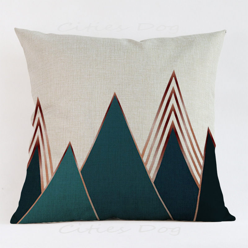 Nordic Colorful Geometric Black Green Classic Pillow Cases