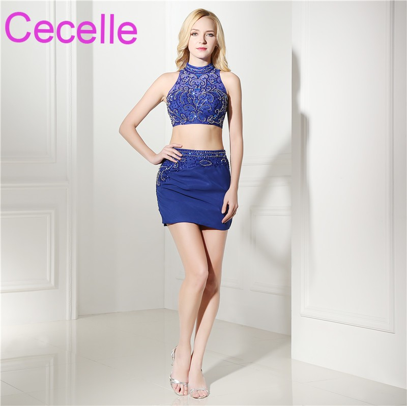 Royal Blue 2 Pieces Short Cocktail Dresses 2019 Beading Top Sexy Mini Fitted Teens Cocktail Party Dresses Sparkly Custom Made