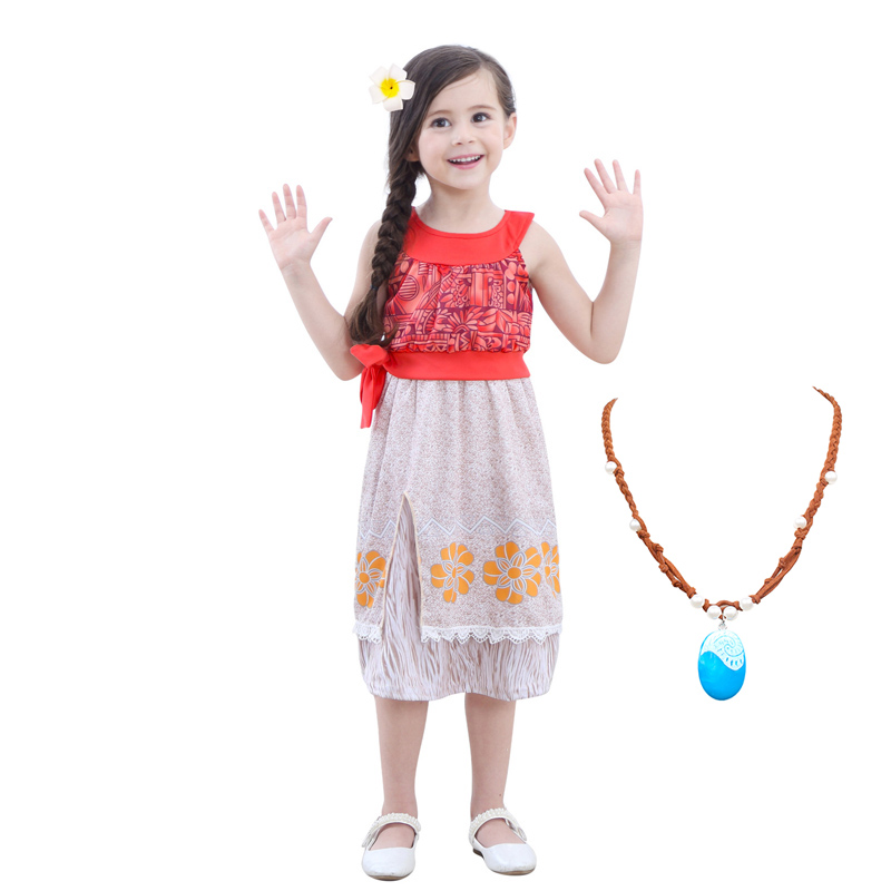 Girls Moana Princess Top Skirts Costumes Cosplay For Children Daily Wear Halloween Party Carnival Fancy Fairy Costume