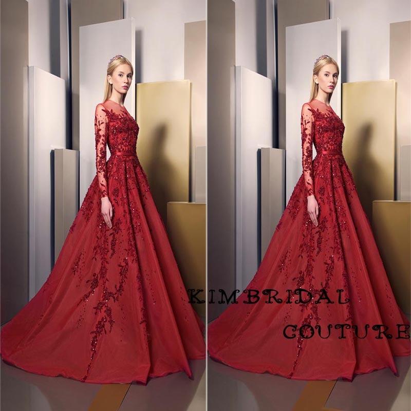 Custom Make Evening Gowns Klänningar 2017 Spets Appliques Beading Satin Långärmad Deep Red Prom Klänningar Ziad Nakad