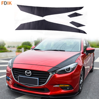 Sport Racing Black Carbon Fiber Front Grille Engine Hood Cover Graphics Film Vinyl Decal Sticker for Mazda 3 AXELA M3 2017 2018