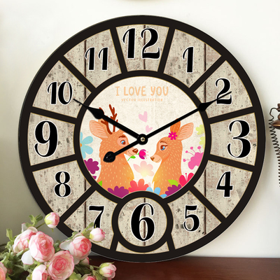 New Best Deal Large Wall Clock New Horloge Murale Quality European Style Vintage Creative Wood Quartz Silent Retro3D Wall Clock