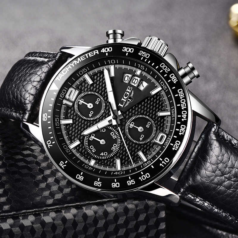 2017 lige 브랜드 뉴 남자 시계 비즈니스 쿼츠 시계 남자 진짜 3 다이얼 빛나는 방수 30 m 야외 스포츠 스틸 시계