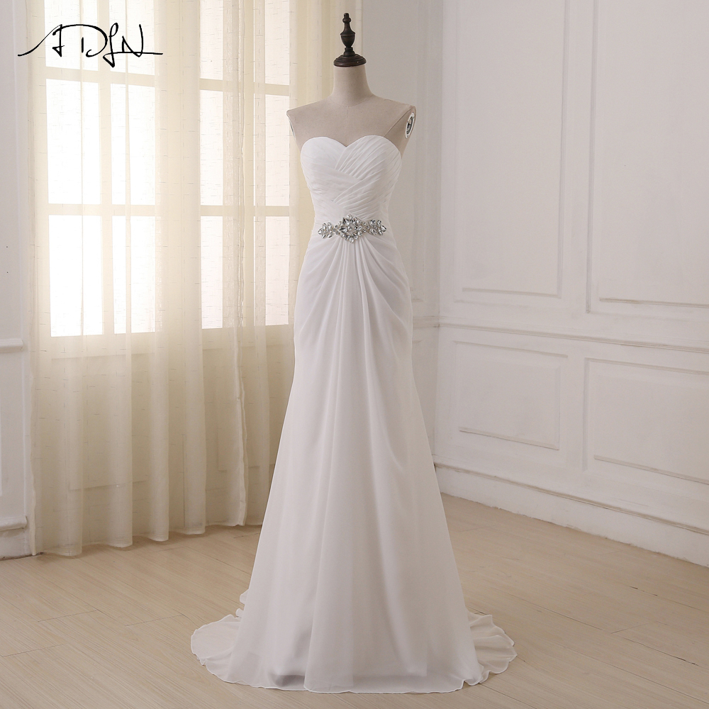 ADLN Wedding Dresses Sweetheart Sleeveless Vestidos de Noiva Sexy Sweep Train Summer Beach Bridal Gowns Plus