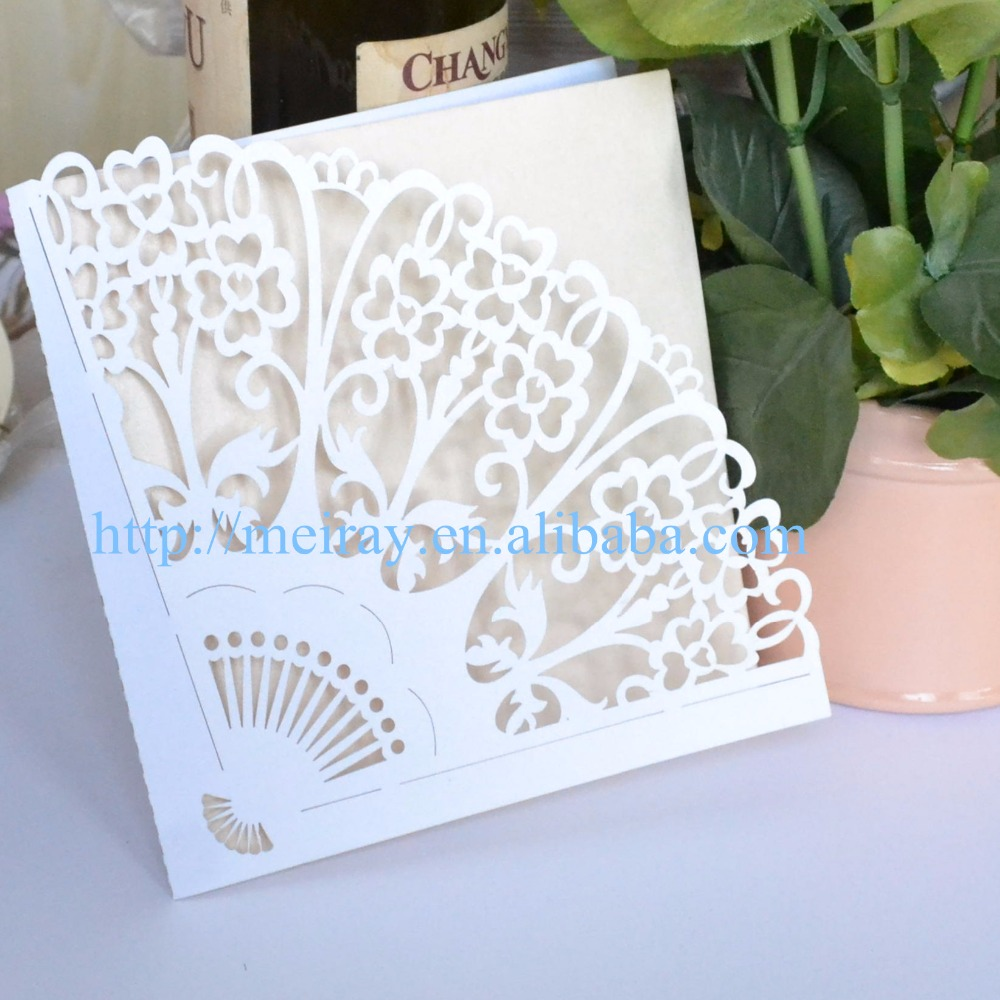 Us 46 0 The Fan Design Luxury Wedding Party Festival Decoration Laser Cut Invitation Card Mr035 In Cards Invitations From Home Garden On