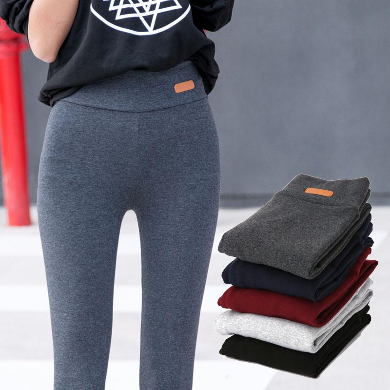 New Women Casual Feet Pants   Leggings   Elastic Waist Faux Leather Lable Cotton   Legging   Female Stretchy Trousers For Women 95Z