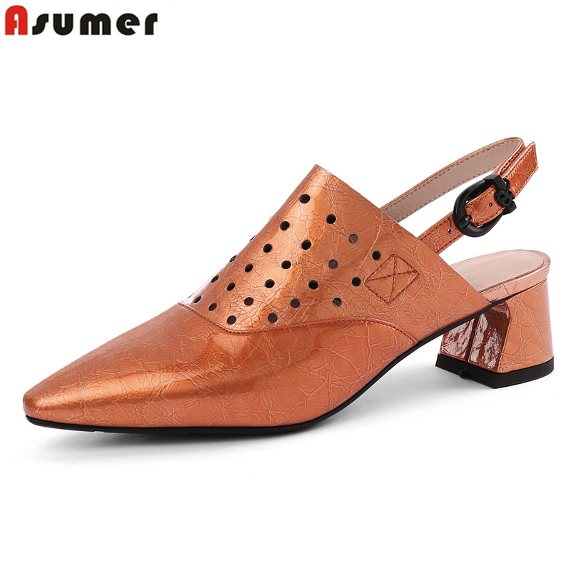 ASUMER 2019 Genuine leather shoes woman pointed toe cut outs buckle fashion mid heel women pumps ladies dress shoes ASUMER 2019 Genuine leather shoes woman pointed toe cut outs buckle fashion mid heel women pumps ladies dress shoes