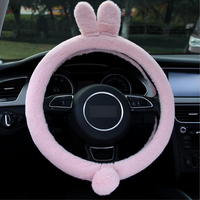 1 PC Pink Grey Plush Rabbit Car Steering Covers Autumn Winter Plush 38cm Cute Animal Warm Steering Covers Case Car Accessories