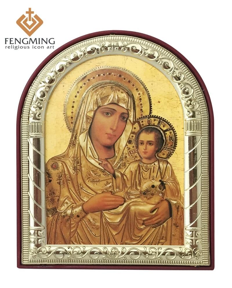 kan anpassade religiösa gåvor heminredning Metall silver guldram mamma mary bild Jerusalem baby Jesus på plast hängande