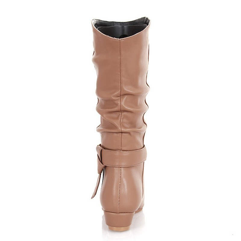 Low Wedges Heel Boots Women Autumn Winter Ladies Mid Calf Boots A241 Fashion Woman Buckle Black Apricot Brown Round toe Shoes in Mid Calf Boots from Shoes