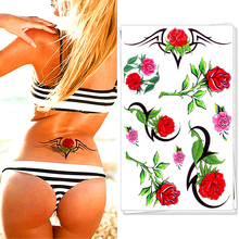 M-Theory Sexy Red Rose Paint 3d Flash Tattoos 17x10cm Beauty Temporary Tatoos Body Art Swimsuit Dress Makeup