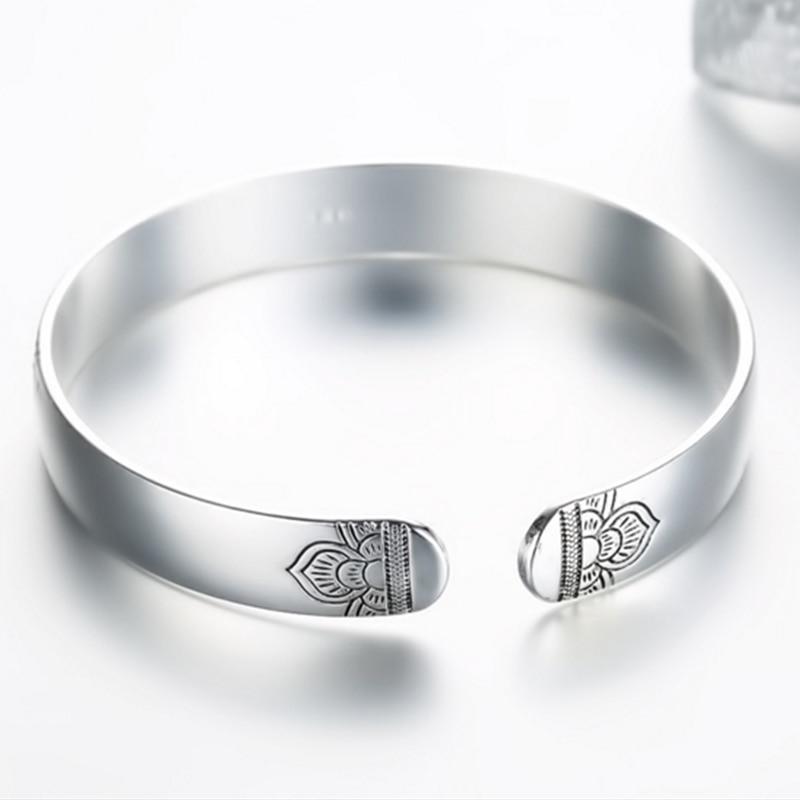 Women's Silver Lotus Bangle Bracelet 3