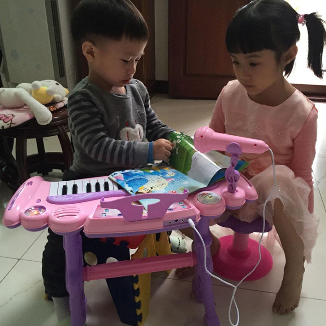 Juguete Musical Chargable para niños 37 teclas de órgano electrónico con micrófono y taburete para niñas juguetes de educación temprana para niños - 5