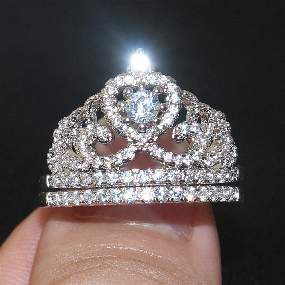 choucong Jewelry Lady s 10kt White golld filled rings Luxury Crown 5a Zircon Engagement Wedding Band