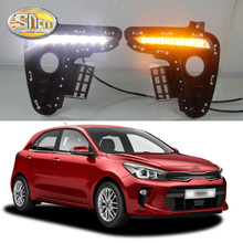 For Kia Rio K2 2017 2018 Yellow Turning Signal Style Relay Waterproof Car DRL 12V LED Daytime Running Light Daylight fog lamp