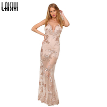 LAISIYI Sexy Gold Sequin Embroidery Party Club Maxi Dresses Elegant Women Vintage Camis Long Dress Vestidos ASDR20013