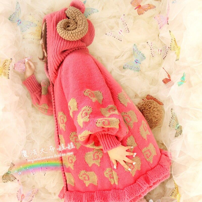 Princess sweet lolita coat sweet sheep big claw long design female cardigan font b sweater b