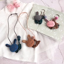 Korea Handmade Cute Cotton Cartoon Rabbit Hairball Kids Children Girls Necklaces Apparel Accessories Gifts-SWCGNL101F