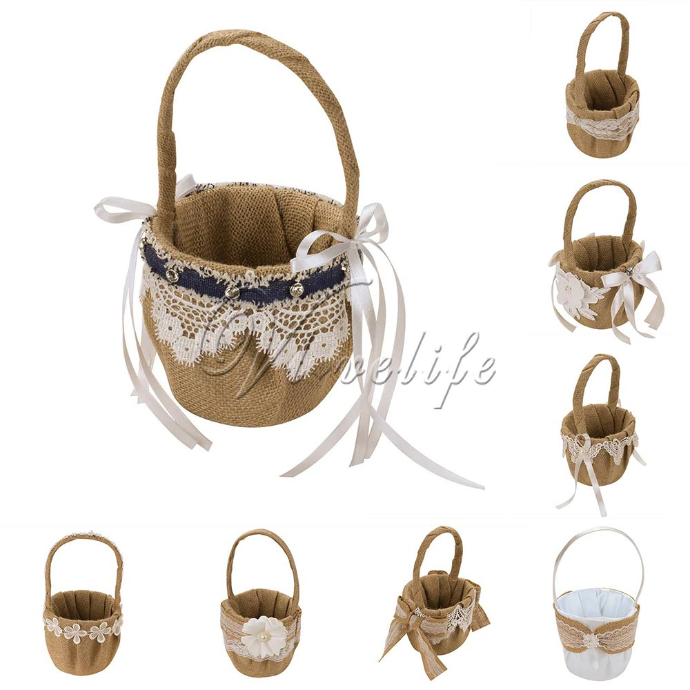 14cm X 23cm Retro Jute Burlap Lace Wedding Flower Basket Flower Girl