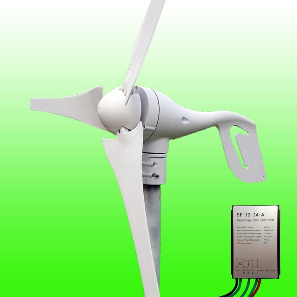 2019 Hot Selling 5 Blades Low Wind Speed Starting NSK Bearings 400W 12V/24V Wind Turbine Generator & Waterproof Wind Controller-in Alternative Energy Generators from Home Improvement    1