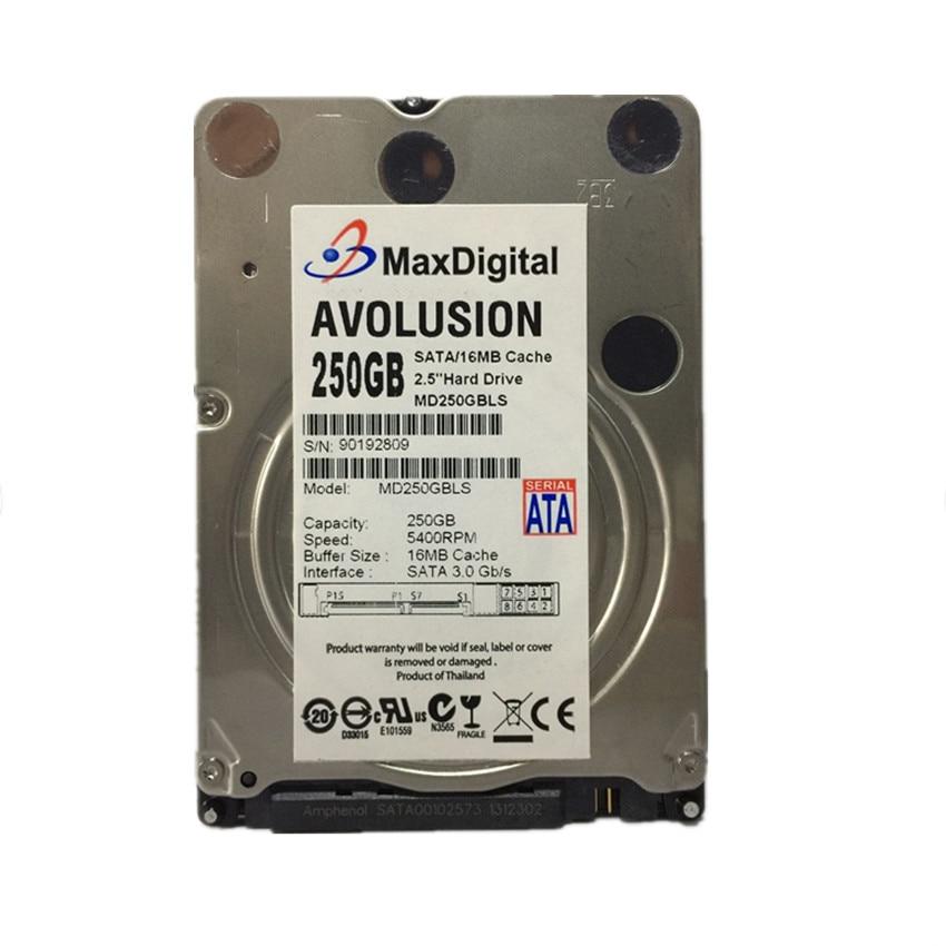 AVOLUSION MaxDigital 250GB SATA 2.5inch 16M Buff SATA Internal Hard Disk Drive For Laptop Notebook Warranty for 1-year 395501 002 601452 001 mb0500cbepq 500 gb 7 2k sata 3 5inch 1 year warranty