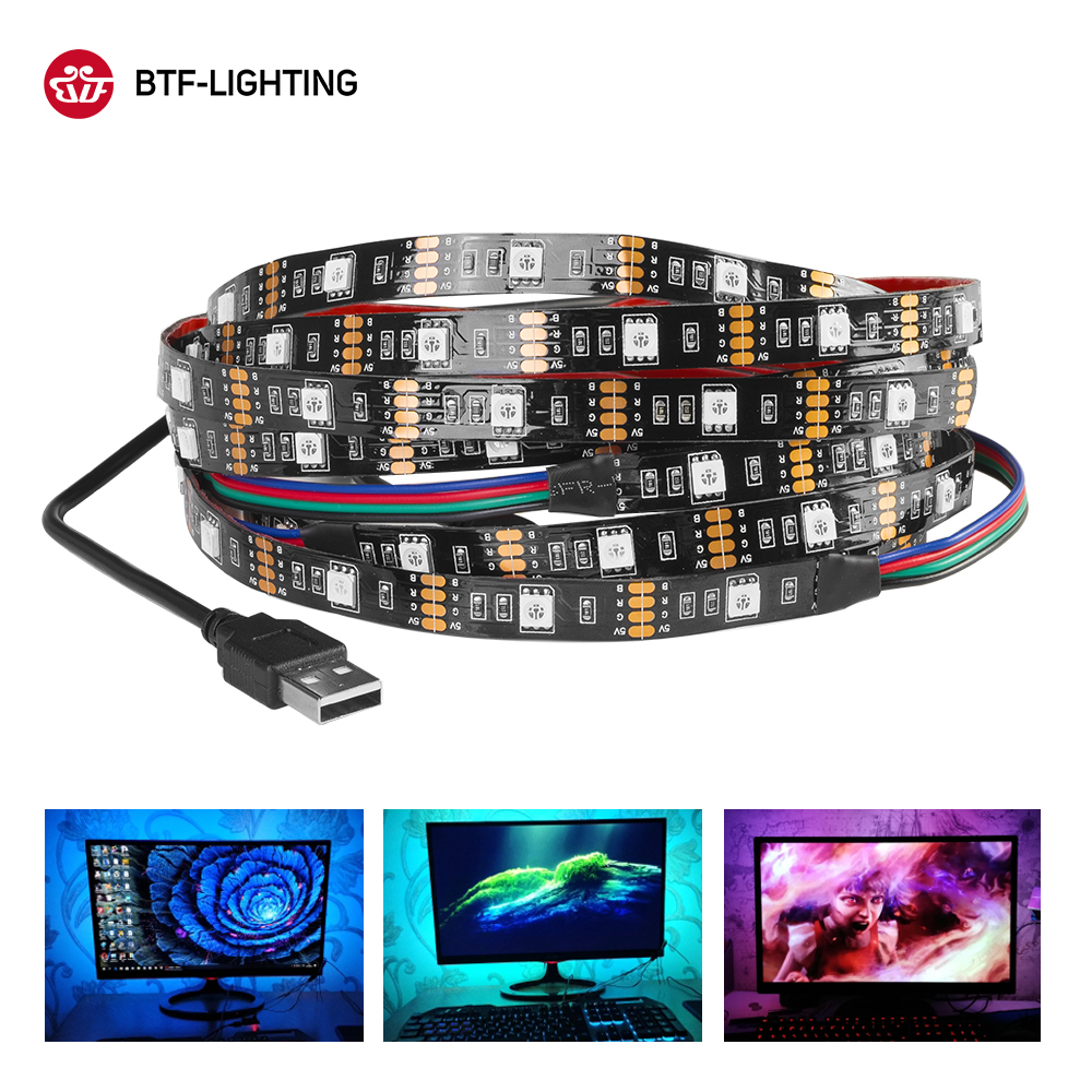 DC5V USB LED Strip Lamp 5050 RGB Flexible LED Backlight 1M 2M 3M HDTV TV PC Desktop Screen Light Tape Ribbon Background Lighting