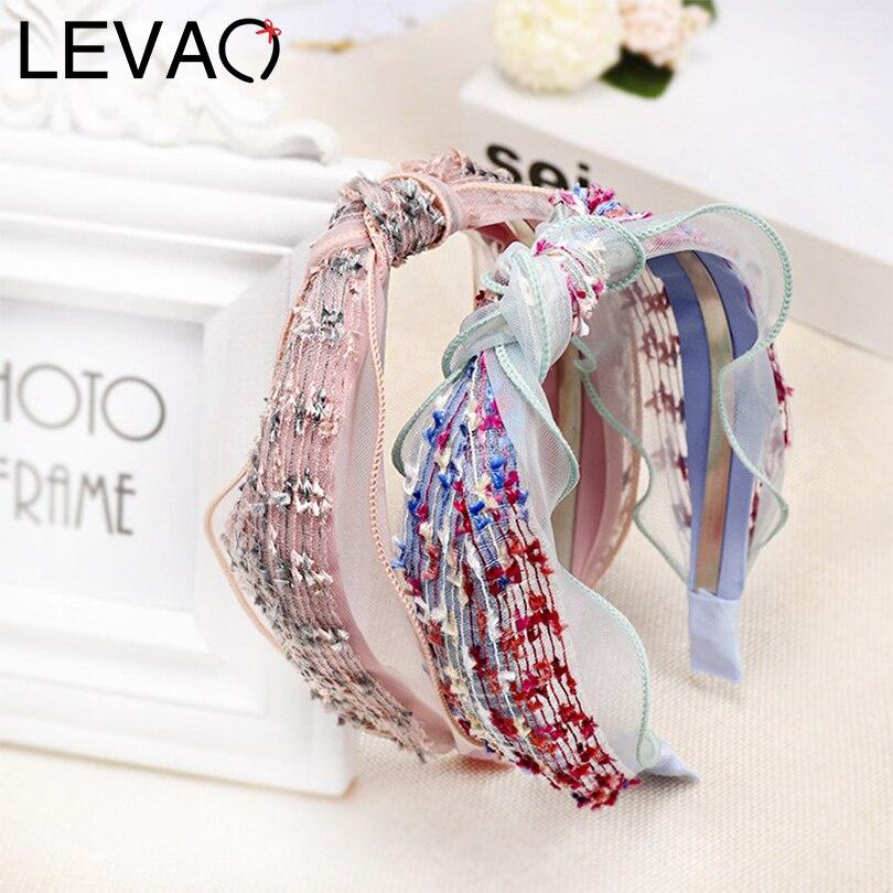 LEVAO Korean Lace Hairbands Bezel Explosion Turban Solid Knotted Hair Ornaments Women Headbands Girls Hair Accessories   Headwear