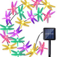 6M 30 Leds Solar Powered Outdoor String Lights Fairy Colorful Dragonfly Garland Decoration For Christmas Tree