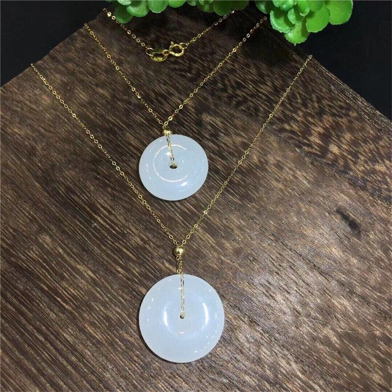 Nouveau véritable or 18 K incrusté naturel chinois vert Jade boucle sûre pendentif chaîne clavicule