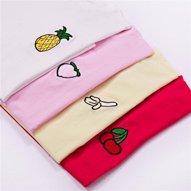Harajuku bordado Top 2018 verano camiseta Mujer Tops melocotón piña plátano cereza fruta Camiseta de manga corta camisetas sueltas