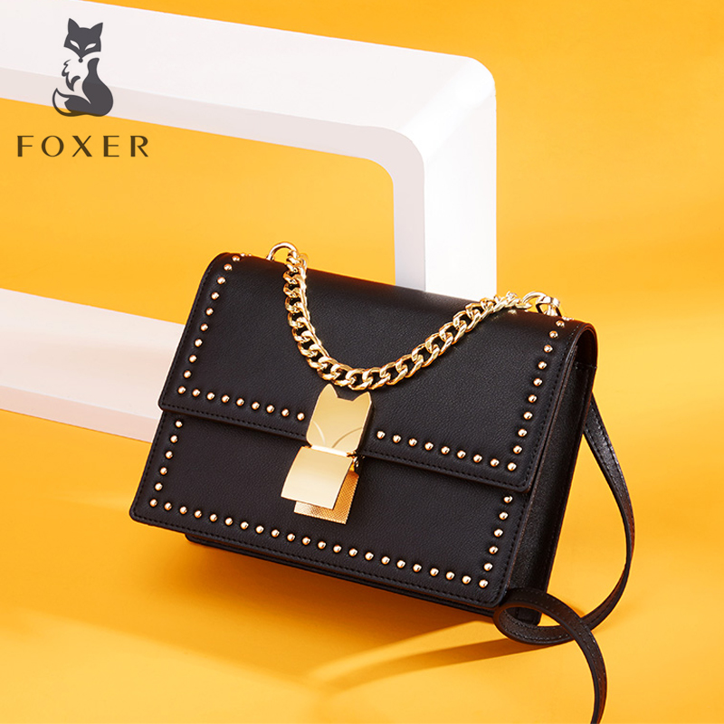 FOXER Women Leather Shoulder Bag Femal Fashion Chain Messenger Bag Cow Button Crossbody Bags For Lady Classic Handbag For Girl foxer brand women s bag fashion chain embossing cow leather crossbody bag messenger bag for women female shoulder bags