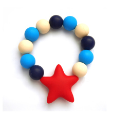Star Round Beads Silicone Baby Teether Bracelet Sensory Latex Teething Rings For Baby Toys Food Grade Silicone Teethers