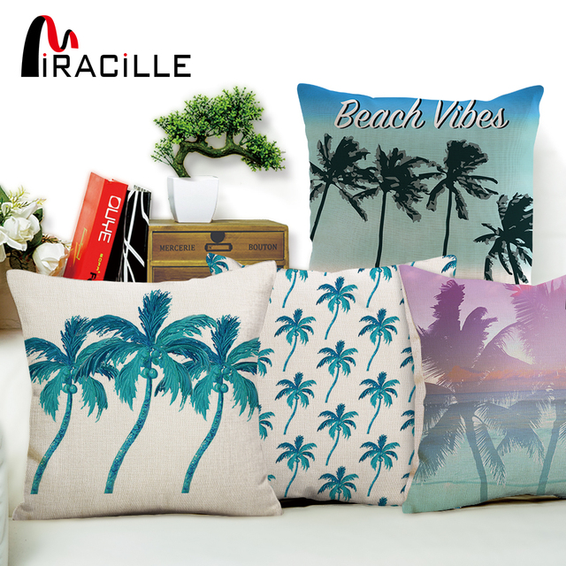 Miracille Tropical Palm Tree Pattern Decorative Pillow Covers Summer Beach  Style Hotel Chair Waist Cushion Cover