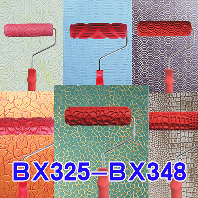 7 Inch Embossed Rubber Roller Liquid Wallpaper Printing Diatom Mud  Wood Grain Wall Paint Roller  Coating Construction Tool