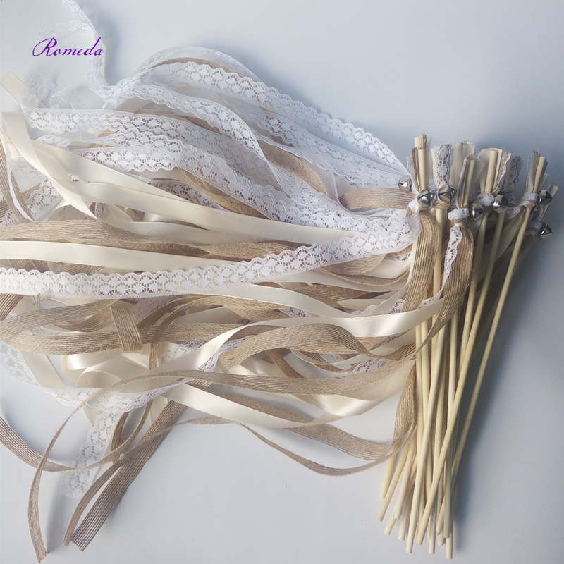 New Arrived 50pcs lot Champagne jute lace wedding Ribbon Wands stick Confetti Stream with big sliver