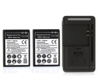 For Galaxy Pro B7510 I569 I579 2x 1350mAh Cell Phone Batteries USB Wall Charger For Samsung