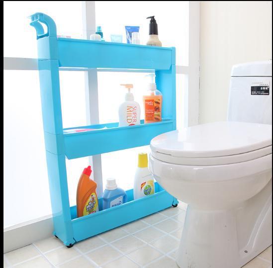Caught Between Plastic Frame With Wheels Kitchen Corner Dressing Finishing Narrow  Bathroom Shelf