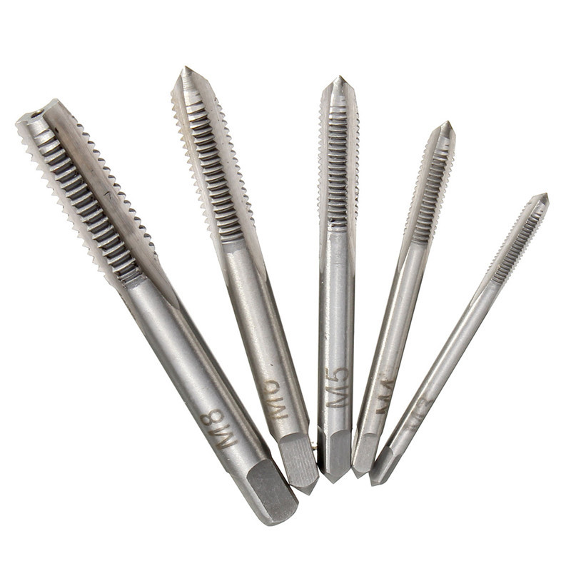 5pcs Screw Thread Tap Drill M3 M4 M5 M6 M8 Spiral Thread Straight Flute Tap Metric Plug Drilling Set