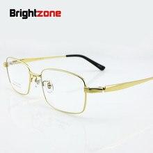 bcae12af19 Brightzone 9979 hombres titanium gafas pure titanium anteojos ópticos borde completo  gafas tamaño grande 56-18-145 ojos marco óp.