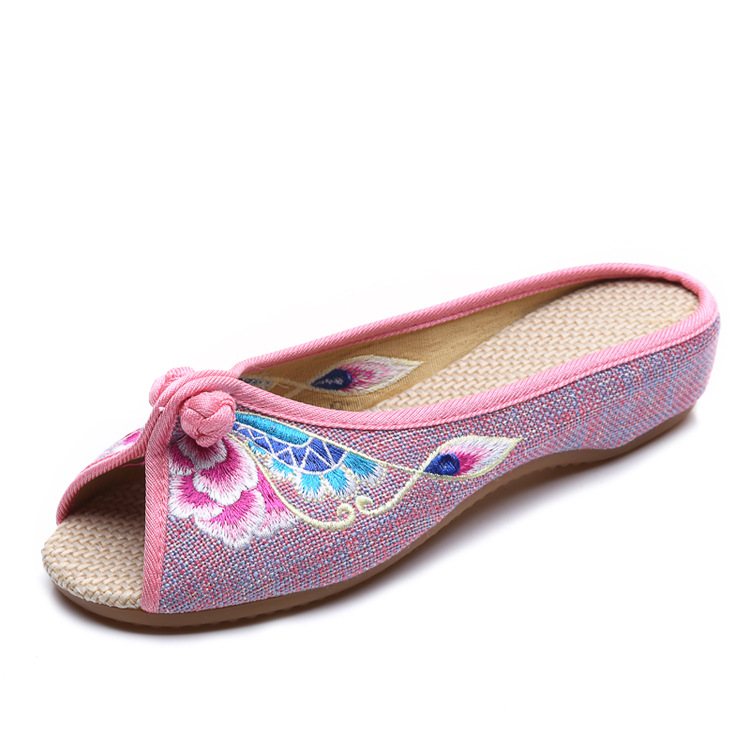 Summer fashion flower embroidery shoes women slippers peep-toe slippers oxfords shoes women slides Flip flops mujer sandals