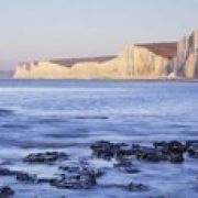 Chalk cliffs at seaside  Seven sisters  Birling Gap  East Sussex  England Poster Print (36 x 12)