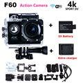 Новый 2017 Go Pro hero 4 style Действий Камеры 4 К F60 wi-fi Камера Спорта 30 М Водонепроницаемый мини-Камера 1080 P HD камера + Зарядное Устройство + батареи