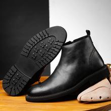 Spring/Winter Fur Men's Chelsea Boots, new style Fashion Boots,Black and brown  Soft real Leather,Casual Shoes size 38-44 eur