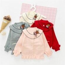 WYNNE GADIS Autumn Winter Baby Girls Knitwear Sweater Long Sleeve Ruffles Princess Cardigans Kids Infant Outerwear Coat