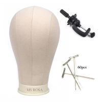 MS ROSA Beige Canvas Block Head Wig block Head Sale Styling Mannequin Manikin Head Wig Stand
