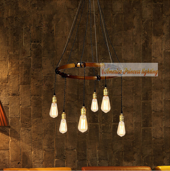 Vintage American country chandelier creative bar restaurant bar cafe lamp, size: 48CM, E27, AC110-240V. european rural bird marble hemp rope chandelier cafe restaurant corridor balcony chandelier size 33 38cm e27 ac110 240v