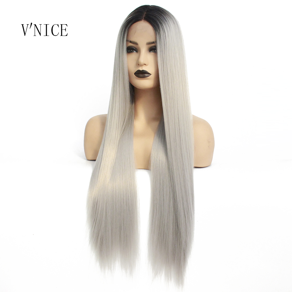 V'NICE Ombre Grey Synthetic Lace Front Wig Natural Long Straight Silver High Temperature Fiber Wigs For Black Women Cosplay