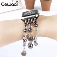 Cewaal Women SFashion Pearl Beads Bracelet Watch Band Strap For Apple Watch Band For Watch Series