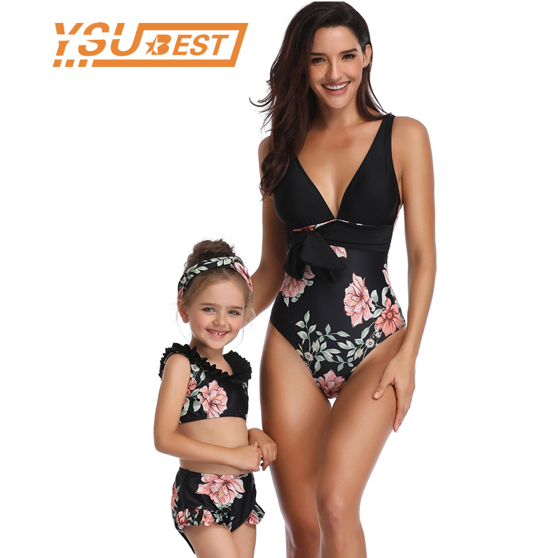Family Look Clothes Beach Summer One-pieces Swimwear Mommy And Me Swimsuits Matching Mother Daughter Bath Outfits Mom Me Suits